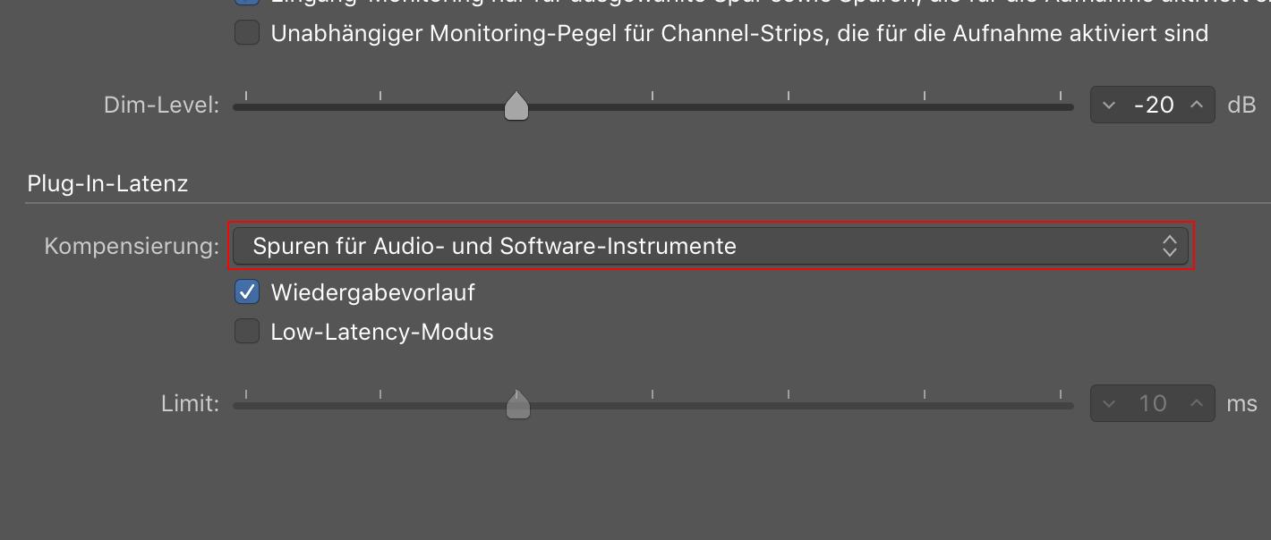 Einstellung Spuren für Audio und Software-Instrumente